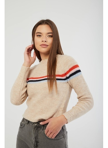 Modaset Renkli Çizgili Triko Kazak Bej Beyaz